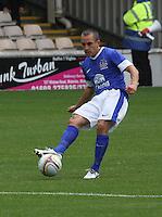 Leon Osman passing in the Motherwell v Everton friendly match at Fir Park, Motherwell on 21.7.12 for Steven Hammell's Testimonial.