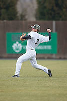 Charlotte 49ers right fielder Brad Elwood (2) throws the ball back to the infield during the game against the Akron Zips at Hayes Stadium on February 22, 2015 in Charlotte, North Carolina.  The Zips defeated the 49ers 5-4.  (Brian Westerholt/Four Seam Images)