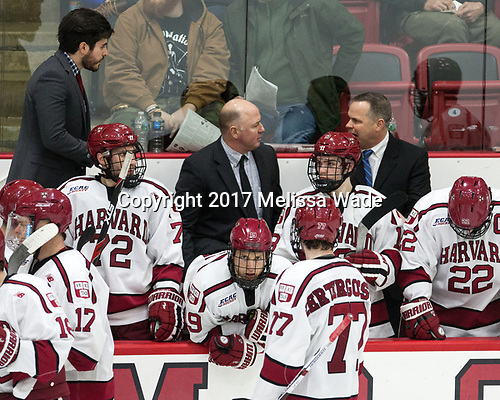 Rob Rassey (Harvard - Assistant Coach), Phil Zielonka (Harvard - 72), Ted Donato (Harvard - Head Coach), Jake Horton (Harvard - 19), Lewis Zerter-Gossage (Harvard - 77), Nathan Krusko (Harvard - 13), Paul Pearl (Harvard - Associate Head Coach), Devin Tringale (Harvard - 22) - The Harvard University Crimson defeated the Yale University Bulldogs 6-4 in the opening game of their ECAC quarterfinal series on Friday, March 10, 2017, at Bright-Landry Hockey Center in Boston, Massachusetts.
