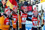 25/01/2015, Anterselva - Antholz - IBU Biathlon World Cup 2015 - Antholz -   Anterselva - Italy<br /> Franziska Hidelbrand, Franziska Preuss, Luise Kummer, Laura Dahlmeier at the finish of the relay in Anterselva - Antholz, Italy on 25/01/2015. Germany's team with Franziska Hidelbrand, Franziska Preuss, Luise Kummer and Laura Dahlmeier wins.