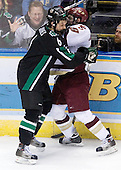 Zach Jones (University of North Dakota - Lisle, IL), Nathan Gerbe (Boston College - Oxford, MI) - The Boston College Eagles defeated the University of North Dakota Fighting Sioux 6-4 in their 2007 Frozen Four semi-final on Thursday, April 5, 2007, at the Scottrade Center in St. Louis, Missouri.