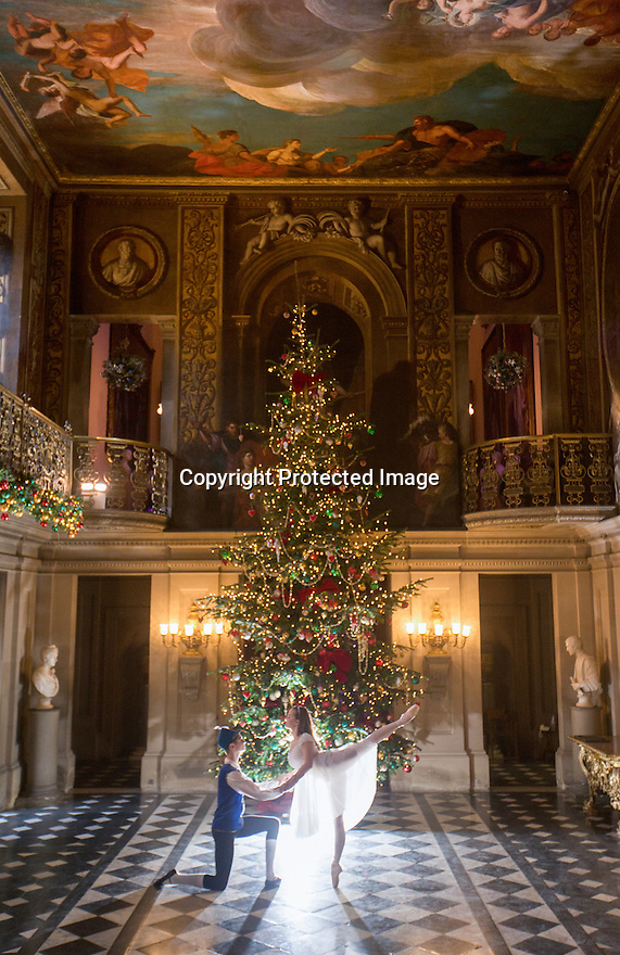04/11/16<br /> <br /> Commission Mcc0073519 Assigned<br /> <br /> Daisy Edwards (19)  and Benjamin Jones (15).<br /> <br /> Ballerinas pose for photographs in the Painted Hall at Chatsworth House to mark the start of the stately home's Christmas themed  'The Nutcracker'. Join Clara's adventures as she is swept away by her Nutcracker Prince until Jan 3 2017.<br /> <br /> All Rights Reserved F Stop Press Ltd. (0)1773 550665   www.fstoppress.com