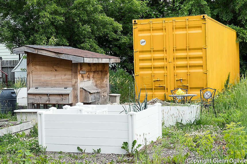 Shipping containers at various locations around Sarnia.