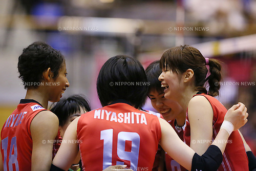 Japan Women's team group (JPN), <br /> JULY 10, 2015 - Volleyball : <br /> FIVB Volleyball World Grand Prix Saitama 2015<br /> preliminary round <br /> match between Japan 2-3 Italy<br /> at Saitama city memorial gymnasium <br /> in Saitama, Japan. <br /> (Photo by Yohei Osada/AFLO SPORT)