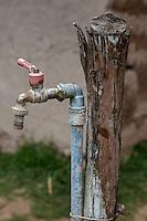 Peru, Urubamba Valley, Quechua Village of Misminay.  Water Faucet.