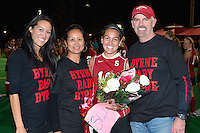 STANFORD, CA - OCTOBER 21, 2011: Stephanie Byrne and family celebrate the senior's career at Stanford during half-time at a game between Stanford field hockey and UC Davis at the Varsity Field Hockey Turf in Stanford, California on October 21, 2011.  Stanford defeated UC Davis, 5-0.