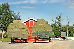 Bailed hay on wagon on Amish farm. Nippenose Valley.
