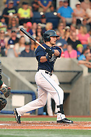 Grant Heyman (12) of the Hillsboro Hops bats during a game against the Boise Hawks at Ron Tonkin Field on August 22, 2015 in Hillsboro, Oregon. Boise defeated Hillsboro, 6-4. (Larry Goren/Four Seam Images)