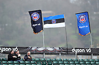 A general view of Bath Rugby flags waving in the East Stand. Aviva Premiership match, between Bath Rugby and Worcester Warriors on December 27, 2015 at the Recreation Ground in Bath, England. Photo by: Patrick Khachfe / Onside Images