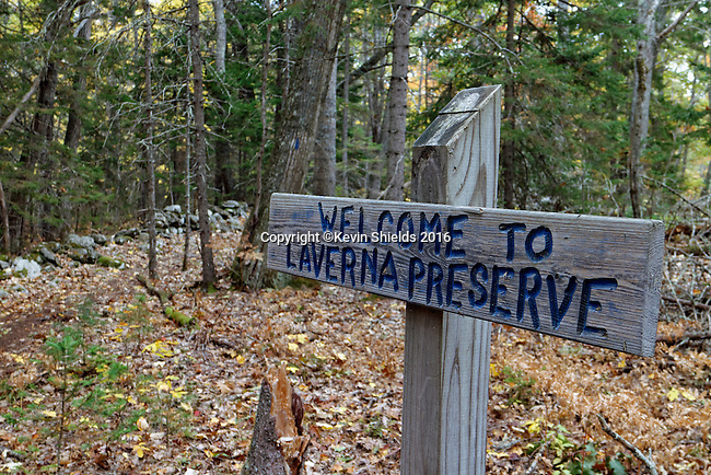 Entrance to LaVerna Preserve, Bristol, Maine, USA.
