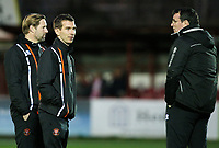 Blackpool first team coach Richie Kyle talks to manager Gary Bowyer and coach Andy Todd<br /> <br /> Photographer Alex Dodd/CameraSport<br /> <br /> EFL Checkatrade Trophy - Northern Section Group B - Accrington Stanley v Blackpool - Tuesday 3rd October 2017 - Crown Ground - Accrington<br />  <br /> World Copyright &copy; 2018 CameraSport. All rights reserved. 43 Linden Ave. Countesthorpe. Leicester. England. LE8 5PG - Tel: +44 (0) 116 277 4147 - admin@camerasport.com - www.camerasport.com