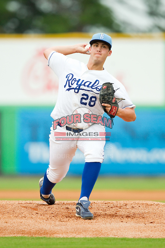 Burlington Royals starting pitcher Zach Lovvorn (28) in action against the Pulaski Mariners at Burlington Athletic Park on July 20, 2013 in Burlington, North Carolina.  The Royals defeated the Mariners 6-5.  (Brian Westerholt/Four Seam Images)