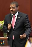 Sneate Majority Leader Steven Horsford, D-North Las Vegas, speaks on the Senate floor at the Legislature in Carson City, Nev. on Thursday, Feb. 10, 2011. .Photo by Cathleen Allison