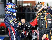 MELBOURNE, AUSTRALIA, 17 MARÇO 2013 - F1 - GP DA AUSTRALIA - O piloto alemao Sebastina Vettel (e) e piloto filandes Kimi Raeikkoenen (d), durante o GP da Austrália, em Albert Park, Melbourne, neste domingo (17). (FOTO: PIXATHLON / BRAZIL PHOTO PRESS).