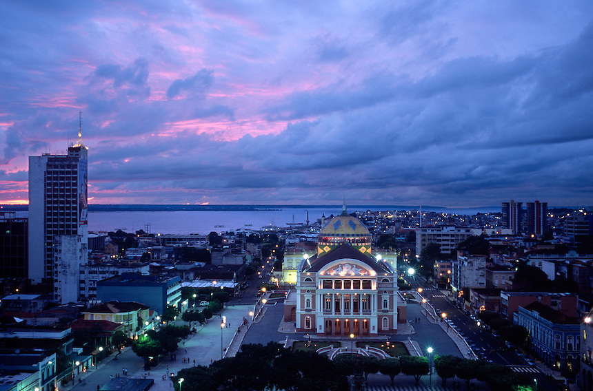 The Teatro Amazonas as seen from the restaurant atop the Taj Mahal hotel in Manaus, Brazil, Saturday, Jan. 7, 2006. The Victorian opera house was built in this rough Amazon city 1,000 miles upstream from the sea by wealthy rubber barons in 1896. (Kevin Moloney for the New York Times)