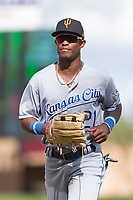 Surprise Saguaros center fielder Nick Heath (21), of the Kansas City Royals organization, jogs off the field between innings of an Arizona Fall League game against the Salt River Rafters at Salt River Fields at Talking Stick on October 23, 2018 in Scottsdale, Arizona. Salt River defeated Surprise 7-5 . (Zachary Lucy/Four Seam Images)