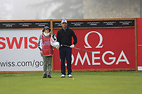 Scott Hend (AUS) and caddy wife Leanne on the 2nd tee during Saturday's Round 3 of the 2017 Omega European Masters held at Golf Club Crans-Sur-Sierre, Crans Montana, Switzerland. 9th September 2017.<br /> Picture: Eoin Clarke | Golffile<br /> <br /> <br /> All photos usage must carry mandatory copyright credit (&copy; Golffile | Eoin Clarke)