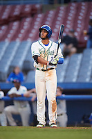 Hartford Yard Goats right fielder Dillon Thomas (25) at bat during the second game of a doubleheader against the Trenton Thunder on June 1, 2016 at Sen. Thomas J. Dodd Memorial Stadium in Norwich, Connecticut.  Trenton defeated Hartford 2-1.  (Mike Janes/Four Seam Images)
