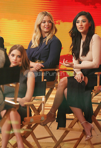 January 12,   2016: Ashley Bensoin,Sasha Pieterse, Shay Mitchell at Good Morning America to talk premiere of  season 6 the second half of Pretty Little Liars in New York. Credit:RW/MediaPunch