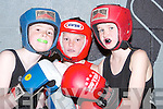 BOXERS: Darragh Murphy, John McDonagh (Tralee) and TJ Lane (Knocknagoshel) in boxing mood at Cumann Iosaef, Tralee, on Saturday night..