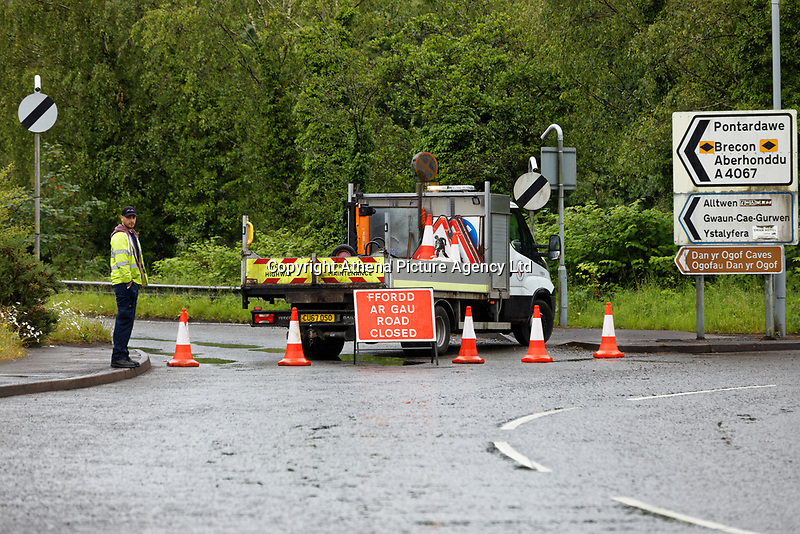 Pictured: The closed off A4067 road in Glais, south Wales, UK. Tuesday 05 June 2019<br /> Re: A boy has been airlifted to hospital following a crash between six cars and an empty coach.<br /> on the A4067 near Swansea.<br /> The road, between Glais and Pontardawe, was closed for investigations but later reopened.