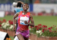 L'etiope Abeba Aregawi vince i 1500 metri donne durante il Golden Gala di atletica leggera allo stadio Olimpico di Roma, 31 maggio 2012..Ethiopia's Abeba Aregawi runs to win the women's 1500 meters during the IAAF athletic Golden Gala meeting at Rome's Olympic stadium, 31 may 2012..UPDATE IMAGES PRESS/Riccardo De Luca