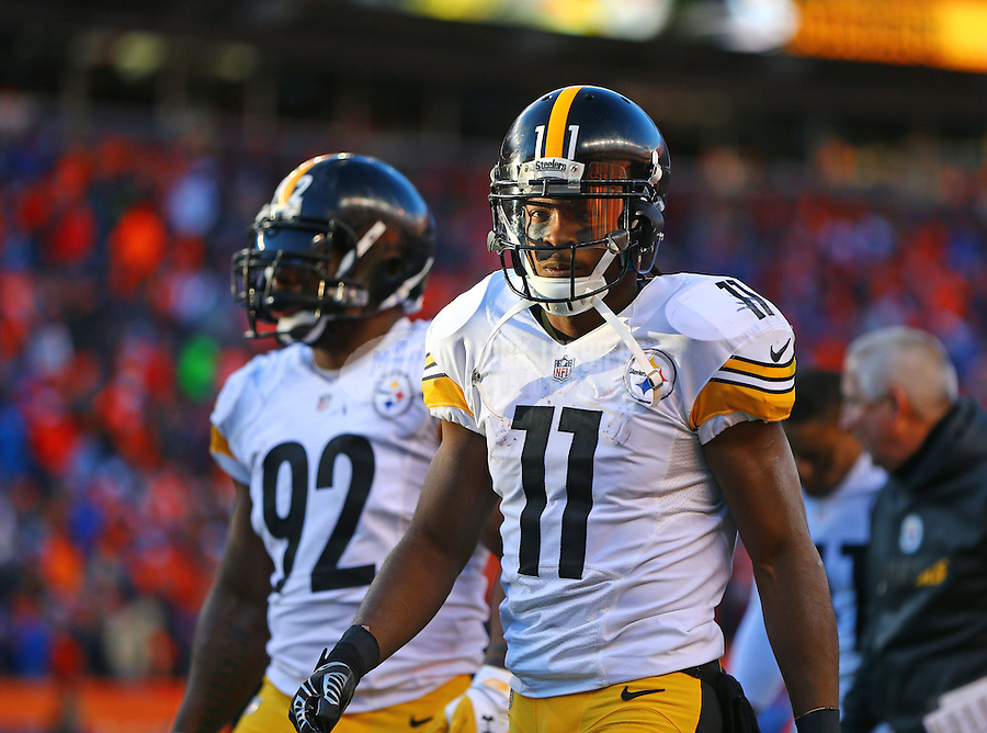 Jan 17, 2016; Denver, CO, USA; Pittsburgh Steelers wide receiver Markus Wheaton (11) and linebacker James Harrison (92) against the Denver Broncos during the AFC Divisional round playoff game at Sports Authority Field at Mile High. Mandatory Credit: Mark J. Rebilas-USA TODAY Sports