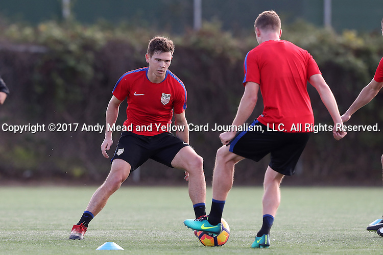 11 January 2017: Will Trapp (left) defends against Walker Zimmerman (right). The United States Men's National Team held their first training session under new head coach Bruce Arena on The Murphy Family Field at the StubHub Center in Carson, California.