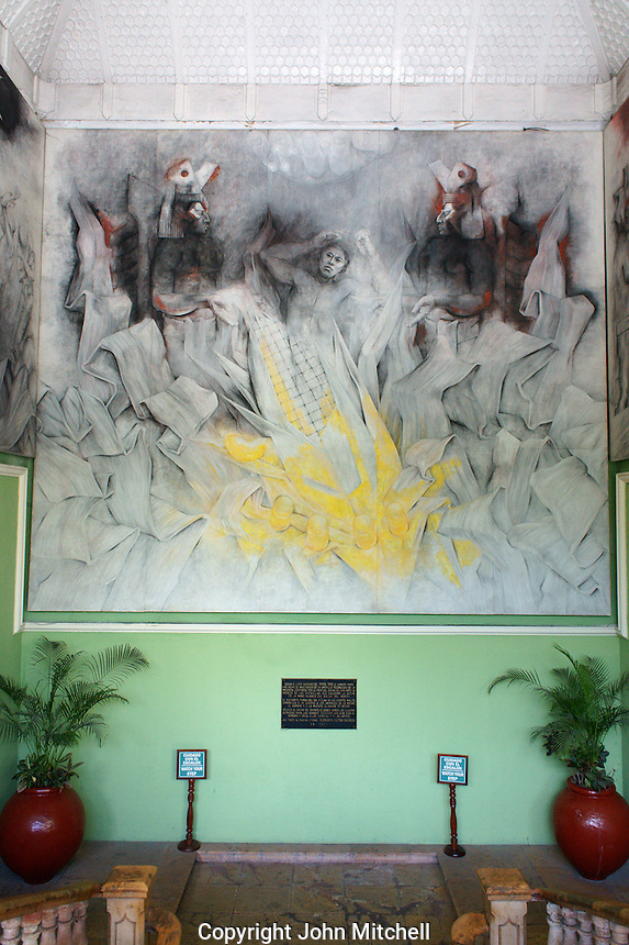Mural depicting Mayan cosmology painted by Fernando Castro Pacheco in the Palacio de Gobierno or Government Palace, Merida, Yucatan, Mexico