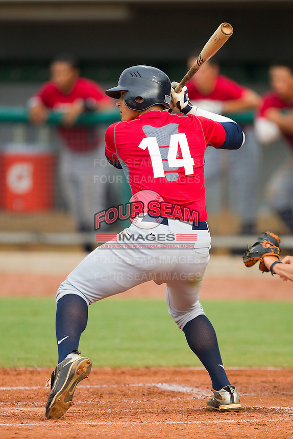 Christian Lopes #14 of Team Red at bat against Team Blue during the USA Baseball 18U National Team Trials at the USA Baseball National Training Center on June 30, 2010, in Cary, North Carolina.  Photo by Brian Westerholt / Four Seam Images