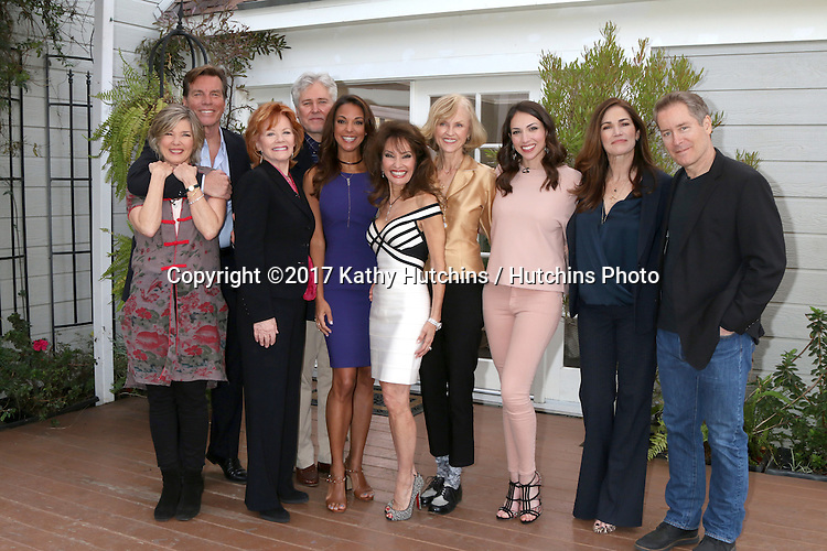 "LOS ANGELES - JAN 5:  Taylor Miller, Peter Bergman, Kathleen Noone, Michael E. Knight, Eva LaRue, Susan Lucci, Jill Larson, Eden Riegel, Kim Delaney, Laurence Lau at the ""All My Children"" Reunion on ""Home and Family"" Show at Universal Studios on January 5, 2017 in Los Angeles, CA"