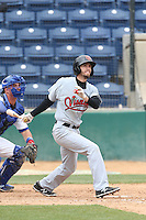 Kevin Medrano (1) of the Visalia Rawhide bats during a game against the Rancho Cucamonga Quakes at LoanMart Field on May 6, 2015 in Rancho Cucamonga, California. Visalia defeated Rancho Cucamonga, 7-2. (Larry Goren/Four Seam Images)