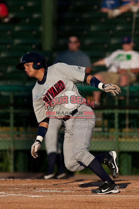 Anderson De La Rosa (22) of the Brevard County Manatees during a game vs. the Daytona Cubs June 10 2010 at Jackie Robinson Ballpark in Daytona Beach, Florida. Brevard won the game against Daytona by the score of 12-8. Photo By Scott Jontes/Four Seam Images