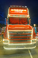 The red Coca Cola truck at the carpark of Tesco supermarket in the Llansamlet area of Swansea, Wales, UK. Wednesday 21 November 2018