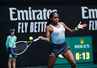 26th January 2020; Melbourne Park, Melbourne, Victoria, Australia; Australian Open Tennis, Day 7; Coco Gauff of USA returns during her match against Sofia Kenin of USA