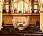 Man playing organ, St Andrews Hall, Norwich, Norfolk, England
