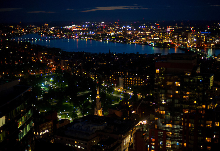 (Boston, MA, 05/18/16) Downtown Boston, Beacon Hill, Back Bay, Charles River and Cambridge glow in the twilight on Wednesday, May 18, 2016. Photo by Christopher Evans