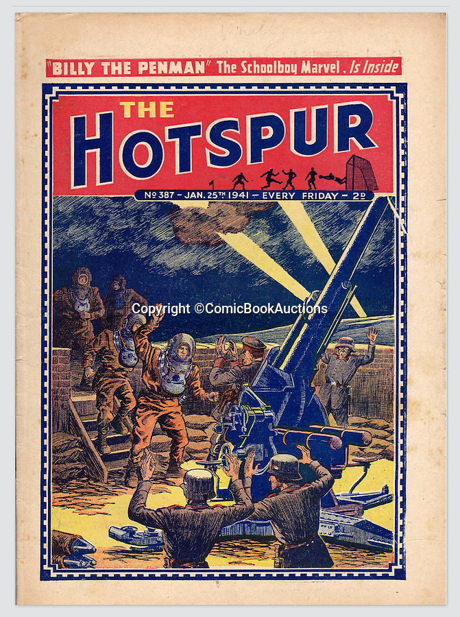 BNPS.co.uk (01202 558833)<br /> Pic: ComicBookAuctions/BNPS<br /> <br /> From 1941, this Hotspur shows a crack team of British frogmen taking a German Anti-aircrft battery.<br /> <br /> Hearts and minds - Collection of wartime comics reveals the British response to the Nazi propaganda machine during WW2.<br /> <br /> The Nazi's may have had the Hitler youth but an amazing collection of wartime comics reveals how Britain fought for the hearts and minds of its children through the unlikely pages of the Beano and Hotspur.<br /> <br /> Although comic books were in their infancy at the outbreak of the war, the industry quickly got behind the war effort.<br /> <br /> A collection of popular boys' publications due to appear at auction have revealed the extent of the propaganda effectuated by British media.  <br /> <br /> Their bold front covers and story lines made every effort to ridicule Hitler and his henchmen and promote the plucky British underdog and the fast changing technology of War.<br /> <br /> The online sale of the wartime comics by London auctioneer Comic Book Auctions will end on September 4.