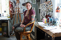 Jada Fitch is an artist and illustrator who lives in Portland, Maine, USA, seen here on Fri., July 28, 2017. She is seen here in her work studio, which is also the living room of her home, where she paints and draws. Fitch has recently been making birdhouses that look like living rooms with small portraits of birds. The birdhouses sell out quickly on her Etsy store.