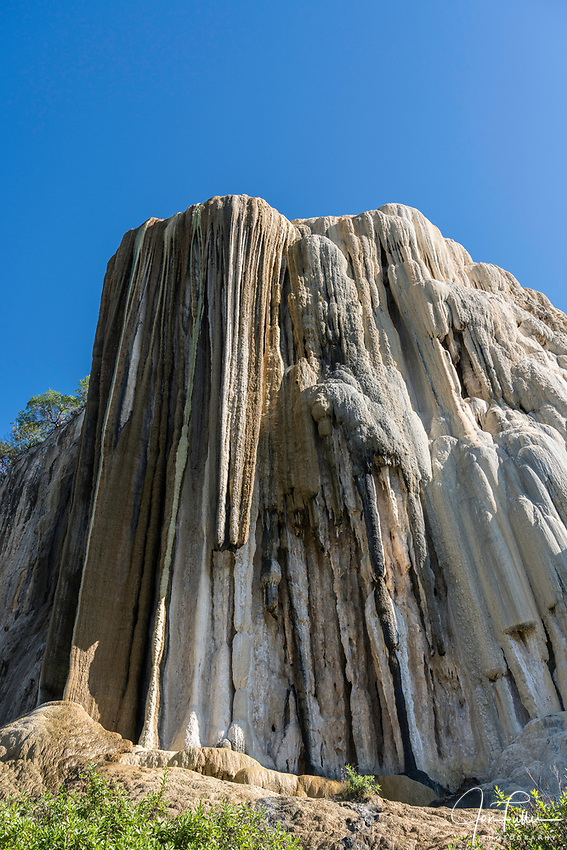 Cascada Grande or the Big Waterfall mineral formation at Hierve el Agua, near Mitla, Mexico.