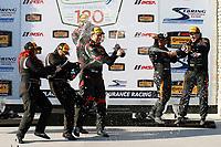 2017 IMSA Continental Tire SportsCar Challenge<br /> Visit Sebring 120<br /> Sebring International Raceway, Sebring, FL USA<br /> Friday 17 March 2017<br /> 44, Nissan, Altima, ST, Sarah Cattaneo, Owen Trinkler, 17, Porsche, Porsche Cayman, ST, Spencer Pumpelly, Nick Galante, 56, Porsche, Porsche Cayman, ST, Jeff Mosing, Eric Foss, podium, champagne<br /> World Copyright: MIchael L. Levitt<br /> LAT Images<br /> ref: Digital Image levitt_seb_0317-15523