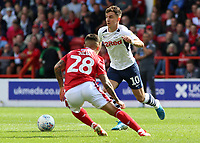 Preston North End's Josh Harrop takes on Nottingham Forest's Tiago Silva<br /> <br /> Photographer David Shipman/CameraSport<br /> <br /> The EFL Sky Bet Championship - Nottingham Forest v Preston North End - Saturday 31st August 2019 - The City Ground - Nottingham<br /> <br /> World Copyright © 2019 CameraSport. All rights reserved. 43 Linden Ave. Countesthorpe. Leicester. England. LE8 5PG - Tel: +44 (0) 116 277 4147 - admin@camerasport.com - www.camerasport.com