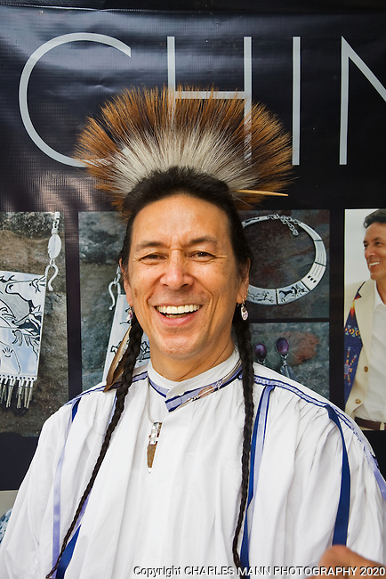 The annual Indian Market, held on the plaza each August in Santa Fe, is the single largest Native American art event in the world.  Narragansett-Blackfeet silversmith TCHIN displayed very elegant pieces at his booth.