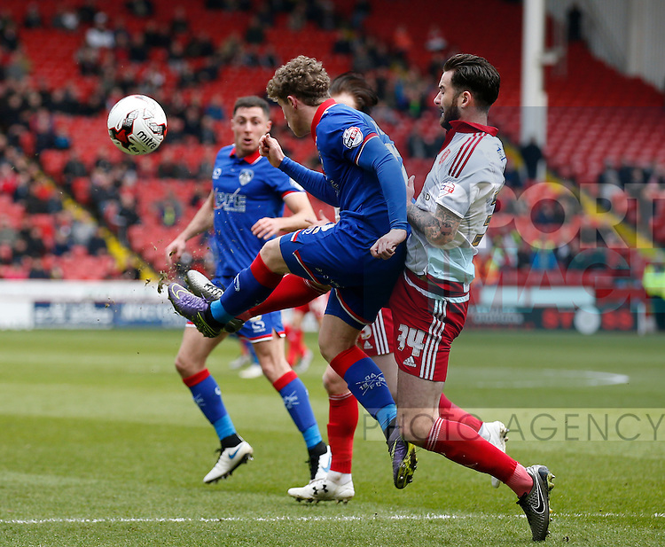 David Edgar of Sheffield Utd in action during the Sky Bet League One match at The Bramall Lane Stadium.  Photo credit should read: Simon Bellis/Sportimage