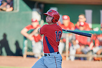Erven Roper (10) of the Orem Owlz bats against the Ogden Raptors at Lindquist Field on June 19, 2018 in Ogden, Utah. The Raptors defeated the Owlz 7-2. (Stephen Smith/Four Seam Images)