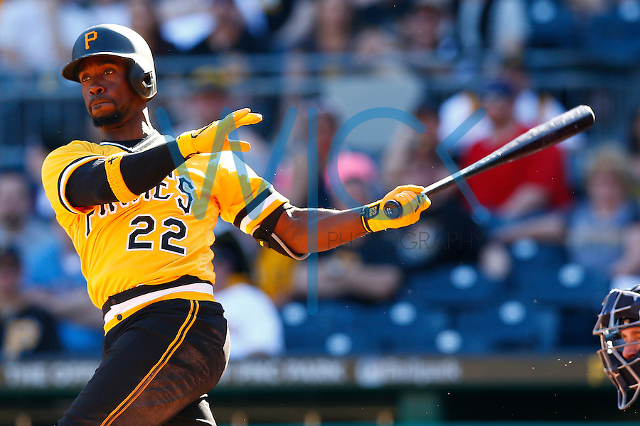 Andrew McCutchen #22 of the Pittsburgh Pirates in action against the Milwaukee Brewers during the game at PNC Park in Pittsburgh, Pennsylvania on April 17, 2016. (Photo by Jared Wickerham / DKPS)