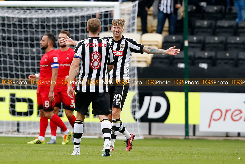 County's Jon Stead scores and celebrates with capt Michael O'Connor during Notts County vs Leyton Orient, Sky Bet EFL League 2 Football at Meadow Lane on 24th September 2016