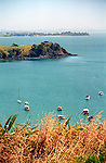 Water and hills of Matiatia Bay on scenic Whaiheke Island in Hauraki Gulf near Auckland New Zealand