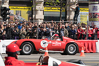 Old timer racing cars perform during the Great Run sports car show held in downtown Budapest, Hungary on May 1, 2019. ATTILA VOLGYI