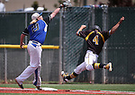 Galena's Charles Douglas makes it safely to first as Basic's Jack Wold reaches for the ball during NIAA DI baseball action at Bishop Manogue High School, in Reno, Nev., on Friday, May 20, 2016. Basic won 7-3 to advance to the championship. Cathleen Allison/Las Vegas Review-Journal